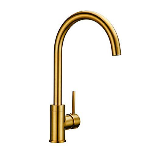 BFLO Kraan Luxe Goud Kleur Keukenkraan Massief Messing Mixer Warm En Koud Sink Kraan 360 Graden Rotatie Keukenmengkranen