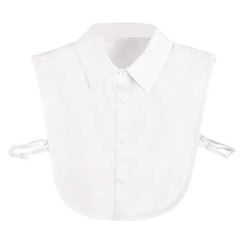 Cuello Falso Desmontable Mujer Algodón Collar Falso Camisa Blusa Elegante (Blanco)
