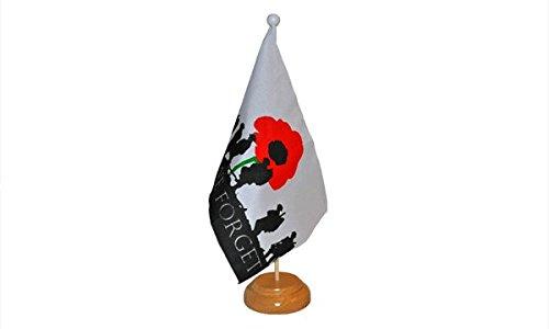 22,9 x 15,2 cm de peur de nous oubliez l'armée soldats Coquelicot du jour du souvenir Drapeau Grande table de bureau avec base en bois et Pole Idéal pour les conférences de fête Bureau écran