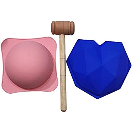 Tijara®Pinata Cake Mould Silicon Geometrical/Diamont 1 Heart Shape & 1 Round Pinata Mould ChocolateCake Mould with 1 Hammer