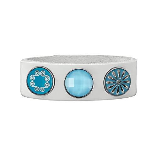 Quiges Damen 18mm Druckknopf Armband aus Leder Weiß mit Blaue Click Buttons