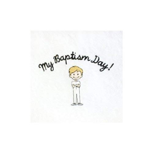 Ringmasters LDS White Embroidered Baptism Towel - Blonde Hair Boy - My Baptism Day! Towel - Great Baptism Gift - 4 1/2 ft x 2 ft