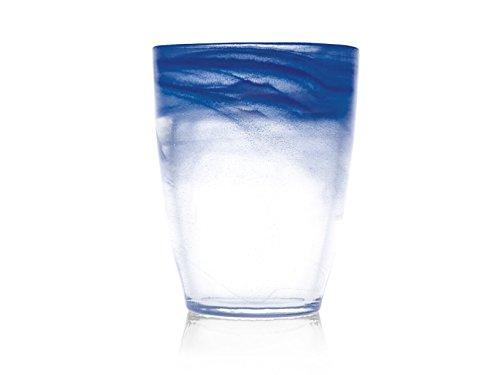 H&H Alabastro Set 6 Bicchieri, Vetro, 350 ml, Blu Cobalto, 9x9x11 cm, 6 unità