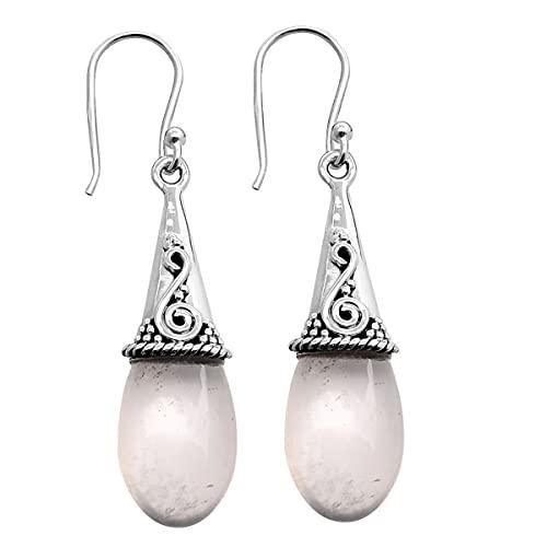 Silver Palace Pendientes colgantes de plata de ley 925 de cuarzo rosa natural para mujeres y niñas
