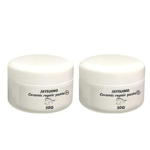 A (50g) + B (50g) Kit de reparación de baldosas de bañera Adhesivo de secado rápido Pasta de crema reparadora de suelos de cerámica con virutas de porcelana (A (50g) + B (50g))