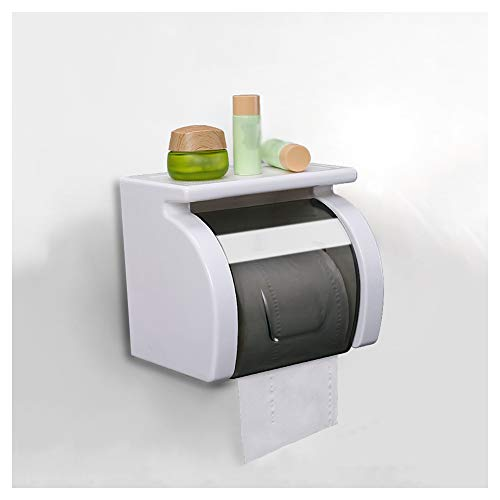 WXXSL Moderno Porta Carta Igienica, ABS Autoadesiva Montaggio Parete Porta Rotolo Carta Igienica Nessuna Perforazione Deposito Tessuto Bagno 17,2×13,5×15,3cm