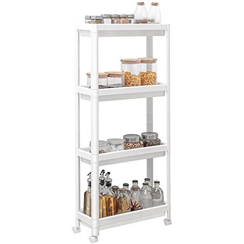 Yorbay Estantería con 4 estantes, estrecha, para cocina, baño, profundidad superior a 18 cm, 45 x 17,5 x 100,5 cm, color blanco