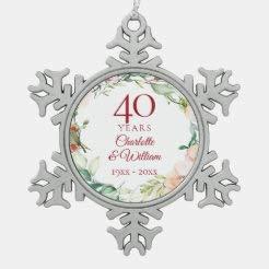 McC538arthy Snowflake Metal Ornaments for Couple Sweet Summer Roses Garland 40Th Anniversary Couple Married Keepsake Wedding Ornament Newlywed Christmas Ornaments Newlywed Wedding Gift 3''