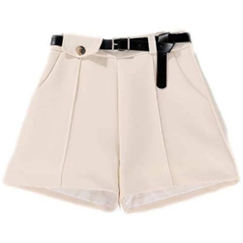 Pantalones Cortos para Mujer Verano Temperamento Cintura Alta Cinturón Fino Traje Pantalones Cortos Pantalones Cortos Sueltos Ocasionales de Pierna Ancha L