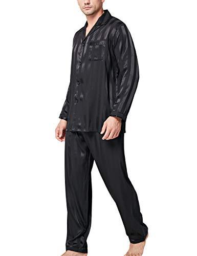 Herren Seide Schlafanzug Pyjama Homewear Streifen Schwarz XXXX-Large