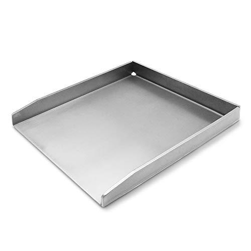 tradeNX Grillplatte aus Edelstahl – Massives Plancha & BBQ Zubehör zum Grillen von Fleisch, Fisch, Gemüse & Obst – 20 x 15 cm