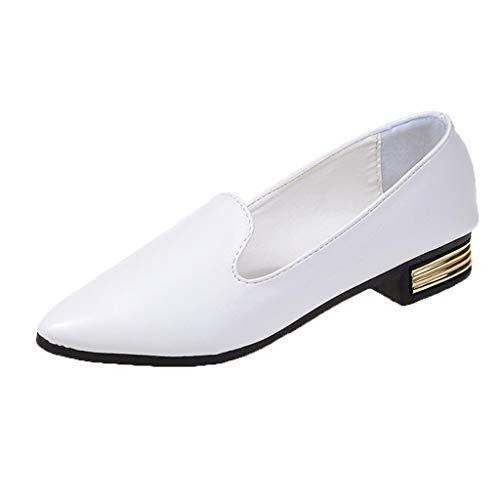 ZIYOU Damen Fashion Pumps, Sommer Pointed Toe Sandalen Elegante Ballerinas Beiläufige Einzelne Schuh(Weiß,38 EU)
