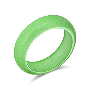 Bling Jewelry Simple Solid Dome Gemstone Eternity Stackable Dyed Green Jade Band Ring for Women for Teen August Birthstone