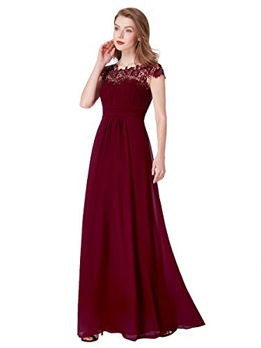 Ever-Pretty Vestito da Cerimonia Donna Girocollo Maniche Corte Pizzo Chiffon Lungo Borgogna 36