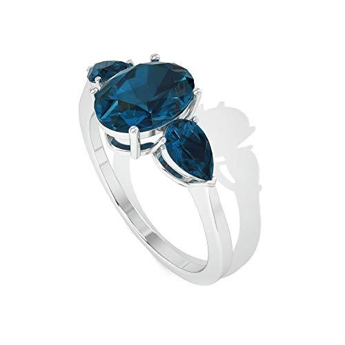 Anillo solitario de 1,6 quilates con topacio azul de Londres, certificado SGL, anillo de tres piedras, anillo de compromiso de novia, anillo de boda, 18K Oro rosa, Size:EU 54