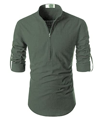 Afaqui Shirts for Mens Full Sleeves Casual Slim fit Cotton with Zipper
