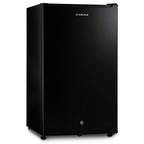 Subcold Eco100 LED Under-Counter Black Fridge | Freestanding Refrigerator | Solid Door with Ice-Box | LED Light + Lock & Key | Low Energy A+ (100L, Black)