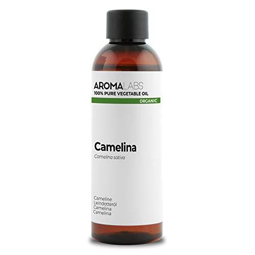 100% BIO - Huile végétale de CAMELINE - 100mL - Garantie Pure, Naturelle, Issue de l'agriculture Biologique, Pressée à froid - Aroma Labs (Marque Française)