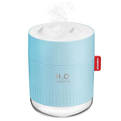 Portable Mini Humidifier, 500ml Small Cool Mist Humidifier, USB Personal Desktop Humidifier for Baby Bedroom Travel Office Home, Auto Shut-Off, 2 Mist Modes, Super Quiet, Blue