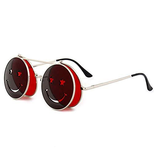 YXDEW Gafas de Sol Mujeres de los Hombres del Metal de Las Lentes Redonda Smiley Clamshell Gafas de Sol UV400,Gafas (Color : C1)