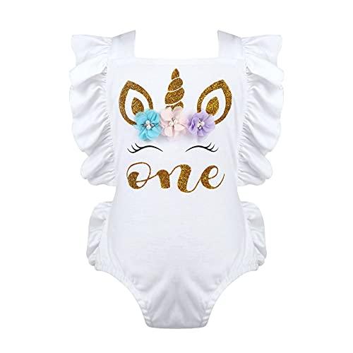 iixpin Pelele Manga Volante Corta para Bebés Body Algodon 1 Años Primer Cumpleaños Mono Corto Ropa Interior Una Pieza Pijama Ropa de Dormir Mameluco Blanco A 3-6 Meses