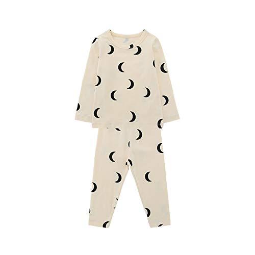 Conjunto de pijama de manga larga para niños y niñas, con estampado de luna y pantalones de luna y estrellas de amor, ropa de dormir para el hogar