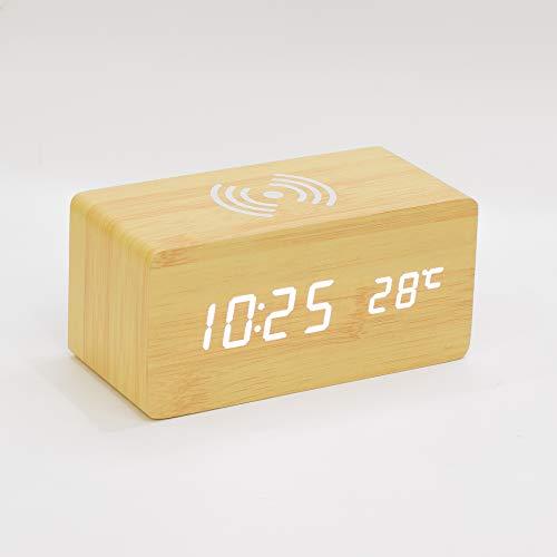 Holz-Wecker mit Qi Wireless-Charging Kompatibel mit iPhone Pad Holz LED Digital Clock Sound Control-Funktion, USB Zeit Datum Temperaturanzeige für Schlafzimmer Office,D