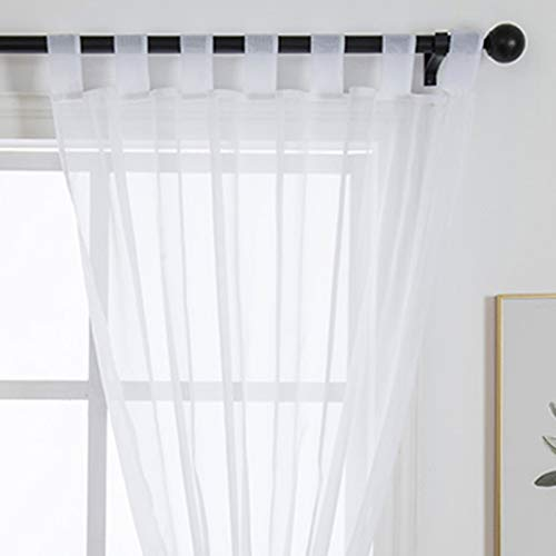 Zebrasmile 1 Panel Tab Top Sheer Voile Curtain Loop Drapery Treatment Voile Curtains for Living Room Devide Bedroom French Window White 102(H) X55(W) in
