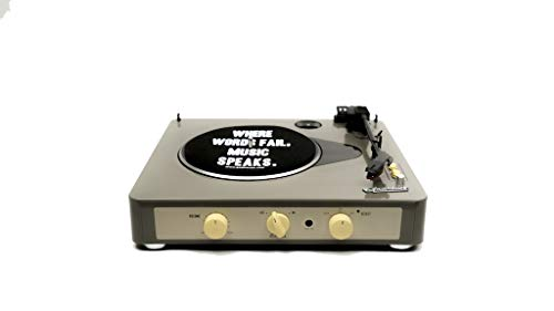 Gadhouse Brad Vintage Reproductor de discos giratorios de 3 velocidades construido en Bluetooth, altavoces estéreo, conector para auriculares, entrada auxiliar para Smartphone, salida de línea Rca Jacks Grey