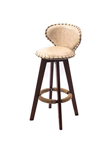 Barstoolri barkruk met rugleuning, ergonomische zitting, houten frame, bruin, antislip, hoge stoel met voetensteun 63cm Gris