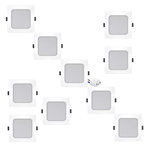 Eande Faretti Led da Incasso Per Cartongesso Quadrati 7W 600LM Ultrasottili Luce Bianca Naturale 4000K RA83 Lampada da Incasso Fari Bianchi Equivalente a Alogena 70W 230V Cucina Bagno Interno, 10 Pack