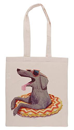 Luxogo Entspannt Doggo Einkaufstasche Groceries Beige Shopping Bag