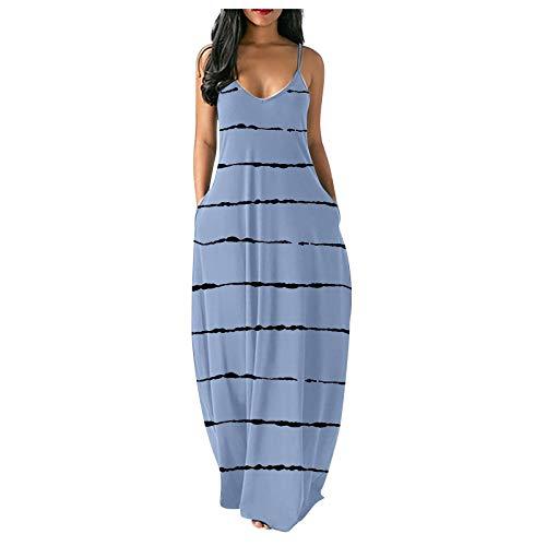 Vestido Mujer Bohemio Largo Verano Playa Fiesta Casual Vestido de Cóctel de Noche,Estampado de Mariposas Tallas Grandes Vestido de oscilación Ocasional