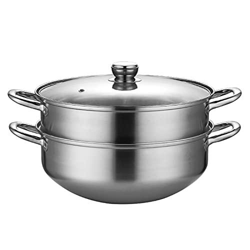 Pote De Vaporizador De Fondo Redondo, Macetas De Utensilios De Cocina De Vapor, Leche, Salsa Y Cereales, Ollas De Pasta para Cocinar De Inducción Cóncava(Size:34cm)
