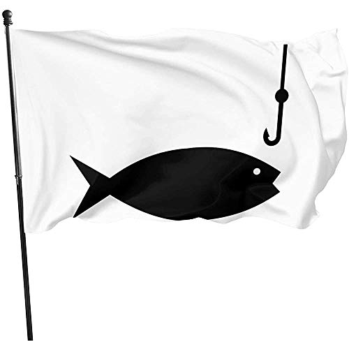 N/A Dekoration Flagge,Saisonale Gartenflaggen,Willkommensflagge,Angelrute Clipart House Yard Flagge,3'X5'Ft Künstliche Flagge,Dekoration Banner