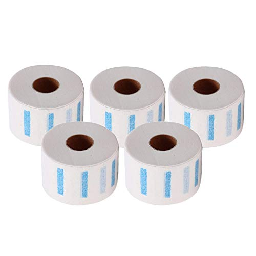 dailymall 5x Barber Neck Ruffle Roll Paper Paper Jetable Haircut Collar Hair Salon Accs - Blanc