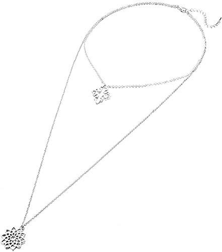 WLHLFL Collar Hueco Flor Floral Collar de múltiples Capas Cruz Jesucristo joyería Religiosa Encanto Collar Largo Mejor Regalo