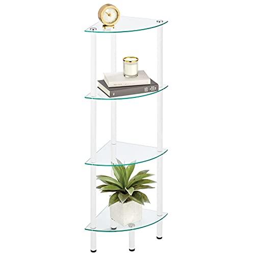 mDesign Estante esquinero de pie – Estantería metálica con 4 baldas para baño, Pasillo, despacho o Dormitorio – Estante Organizador de Metal con repisas de Cristal – Blanco y Transparente