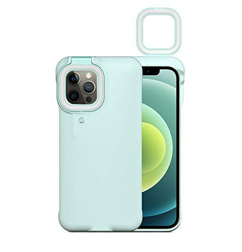 Custodia per cellulare con luce di riempimento a led per iPhone 12 Pro Max con luce ad anello per selfie,copertura antiurto con luce di riempimento per torcia Lumens,cover posteriore rigida antiurto