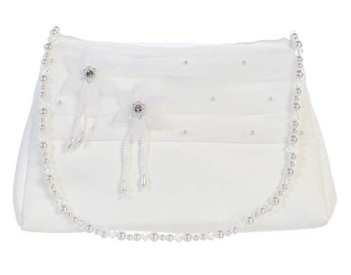White Satin First Communion Purse Bags with Satin 2 Flower with Pearl Handle B19 White