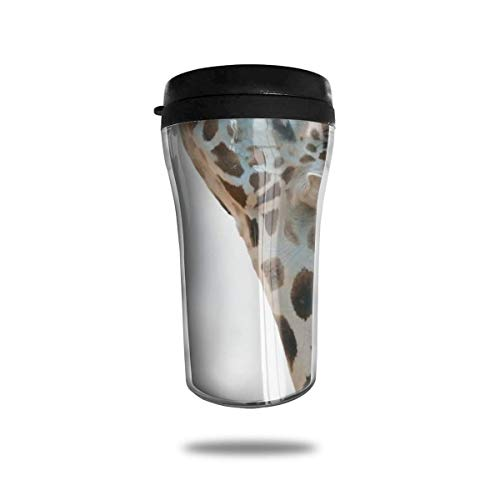 Taza de viaje de acero inoxidable aislada al vacío, taza de café, taza de viaje,Jirafa, mirar, cielo