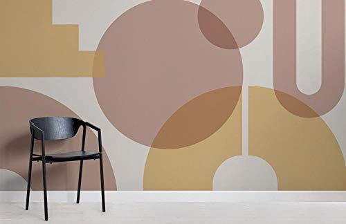 Beige Geometrische vormen moderne Bauhaus behang muurschildering 300x210cm