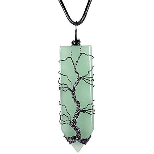 KYEYGWO Pendentif arbre de vie en cristal - Pour homme et femme - Avec pierre - Épée enroulée - Arbre de vie - Bijou pour la méditation, Aventurine verte Cuivre, Aventurine verte,