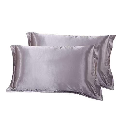 WONGS BEDDING Federe in Raso Grigio per Capelli e Pelle, Accogliente Antirughe, Confezione da 2 Fodere per Cuscino, 60% Seta + 40% Microfibra, 50 x 75 cm