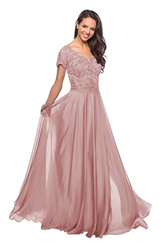 Plus Size 22 Dusty Rose Lace Applique Mother of The Bride Dresses Long with Sleeves V Neck Maxi Formal Evening Gown (Apparel)
