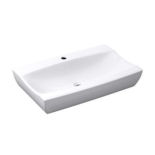 BTH: 63x39,5x11,5cm Aufsatz- / Hängewaschbecken Brüssel890, aus Keramik, weiß, inkl. Nano-Versiegelung/Abperl-Effekt