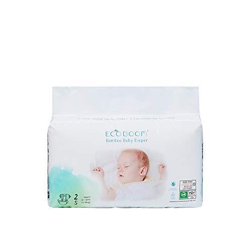 ECO BOOM Pañales de bambú para bebés, pañales desechables Pañales naturales ecológicos para la piel sensible y delicada de su bebé Tamaño 2 - Paquete de 36 unidades