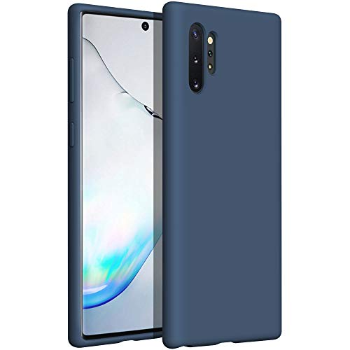YATWIN Compatibile con Cover Samsung Galaxy Note 10 Plus 6,8'', Custodia per Samsung Galaxy Note 10 Plus Silicone Liquido, Protezione Completa del Corpo con Fodera in Microfibra, Blu Notte