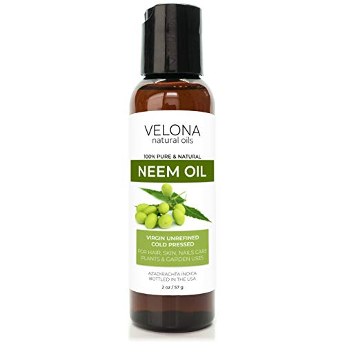 Neem Oil by Velona - 2 oz | 100% Pure and Natural Carrier Oil | Virgin, Unrefined, Cold Pressed | Hair, Body and Skin Care | Use Today - Enjoy Results