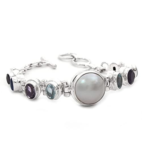 Shadi, étnico - Pulsera de plata con perla y piedras naturales (joyería de plata artesanal - regalo - mujer - hombre - Navidad - Reyes - cumpleaños)